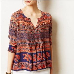 Anthropologie Boho Elephant Print Top 4 / Small